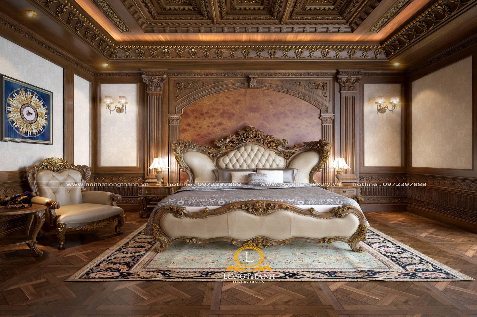 Mẫu giường ngủ cổ điển da tự nhiên tinh tế đẳng cấp cho phòng ngủ nhà biệt thự rộng