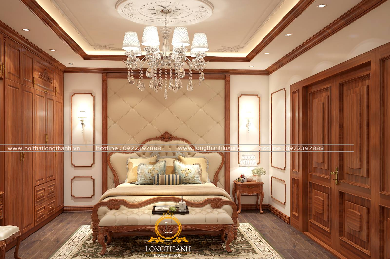 Mẫu giường ngủ master tân cổ điển gỗ Gõ đỏ kết hợp da tự nhiên