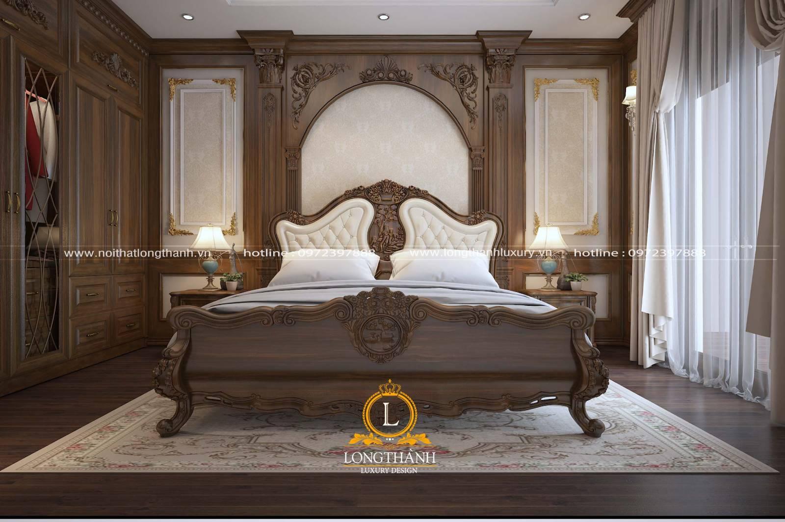 Mẫu giường ngủ master tân cổ điển gỗ Óc chó kết hợp da Ý tự nhiên