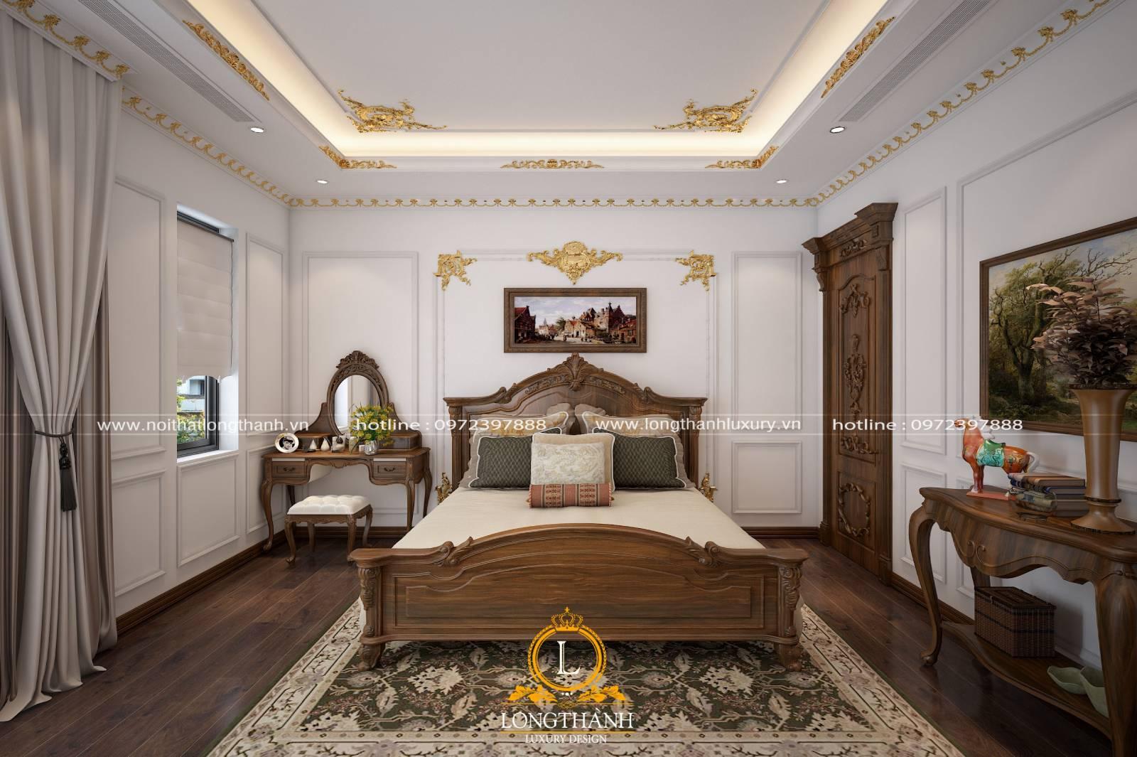 Mẫu giường ngủ master tân cổ điển làm từ gỗ sồi sơn màu nâu socola