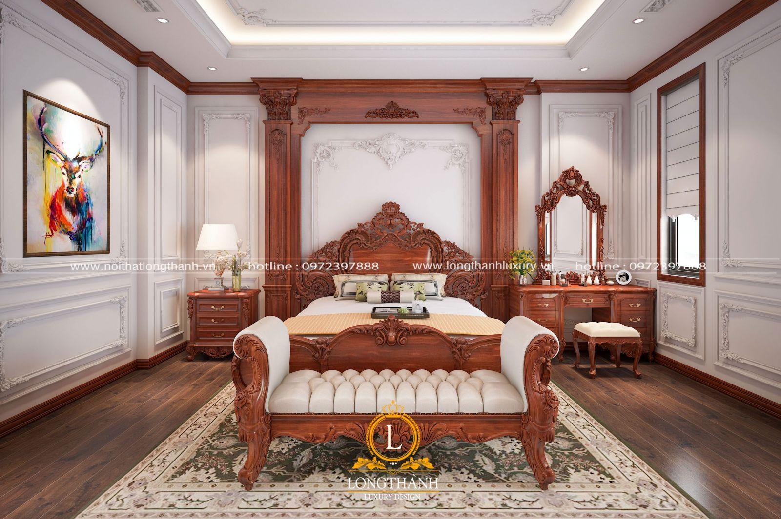 Giường ngủ master màu gỗ nguyên bản