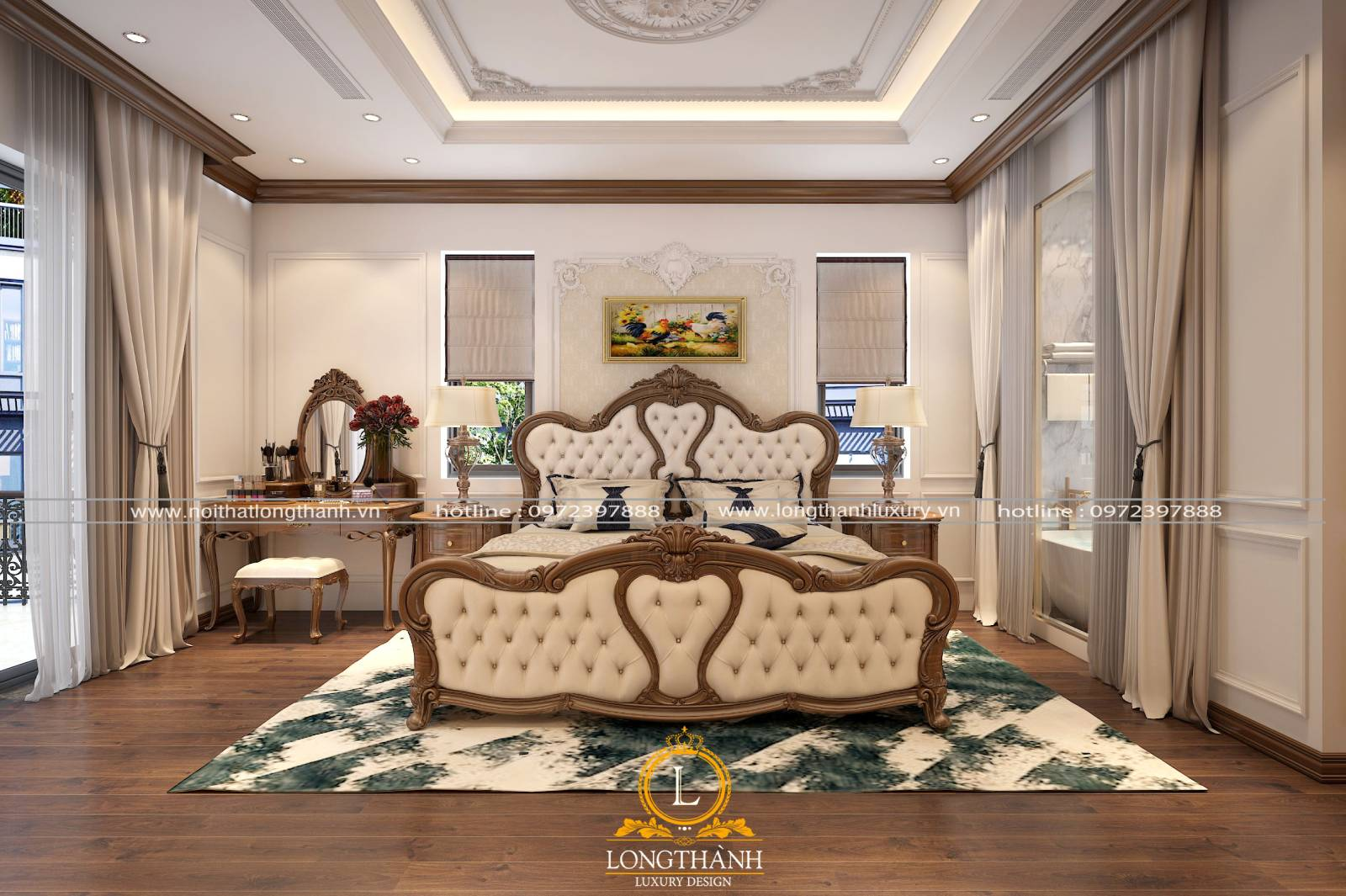 Thiết kế giường ngủ master tân cổ điển cao cấp sang trọng