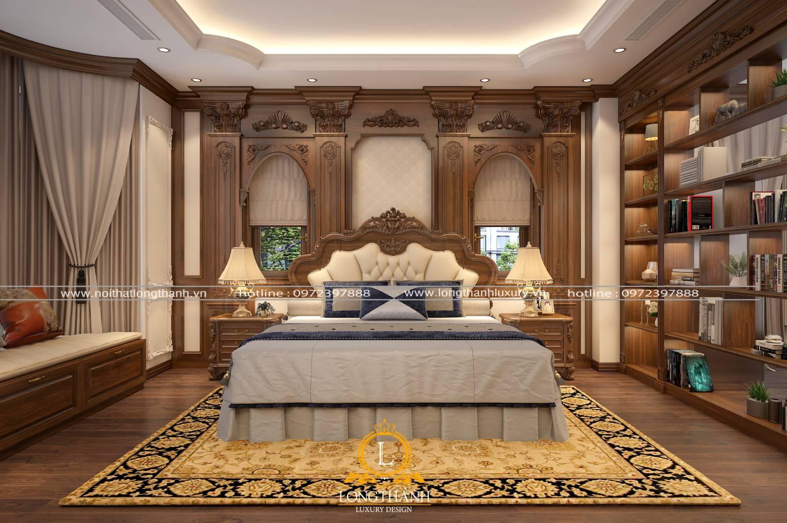 Mẫu giường ngủ master tân cổ điển đẹp làm từ da và gỗ tự nhiên