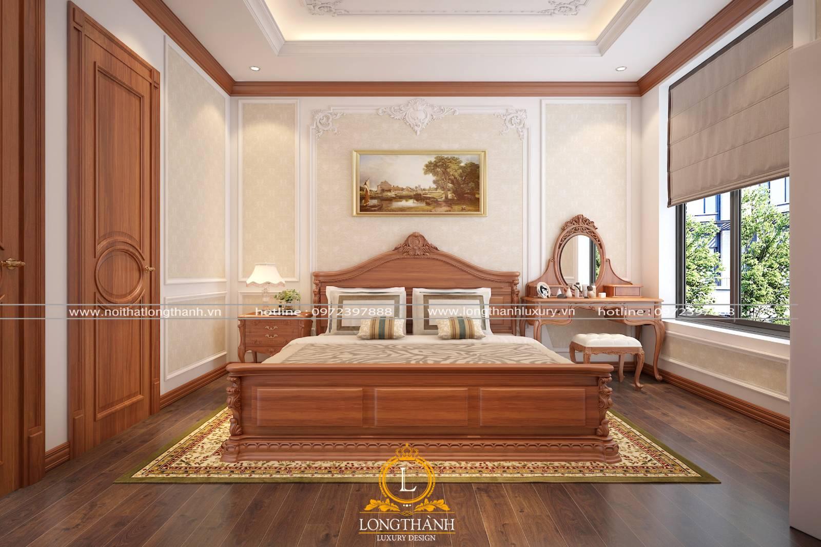 Giường ngủ master tân cổ điển làm từ chất liệu gỗ Sồi cao cấp