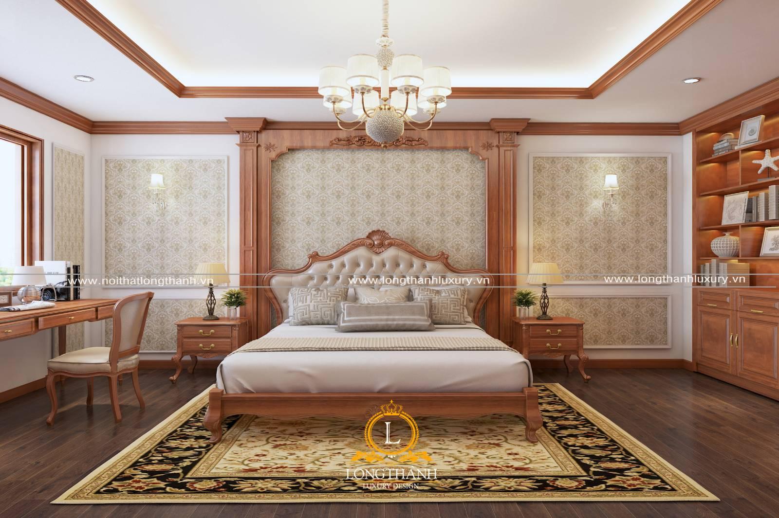 Mẫu giường ngủ tân cổ điển đơn giản chất liệu gỗ tự nhiên