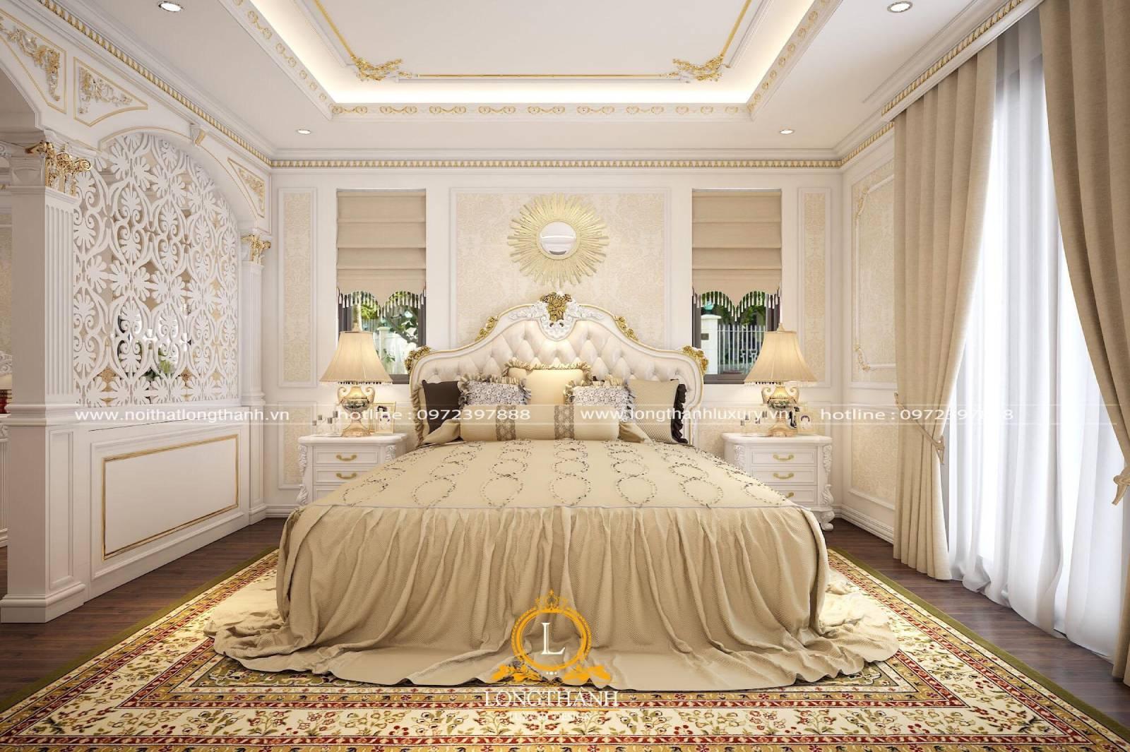 Giường ngủ sơn trắng đồng bộ với không gian phòng ngủ