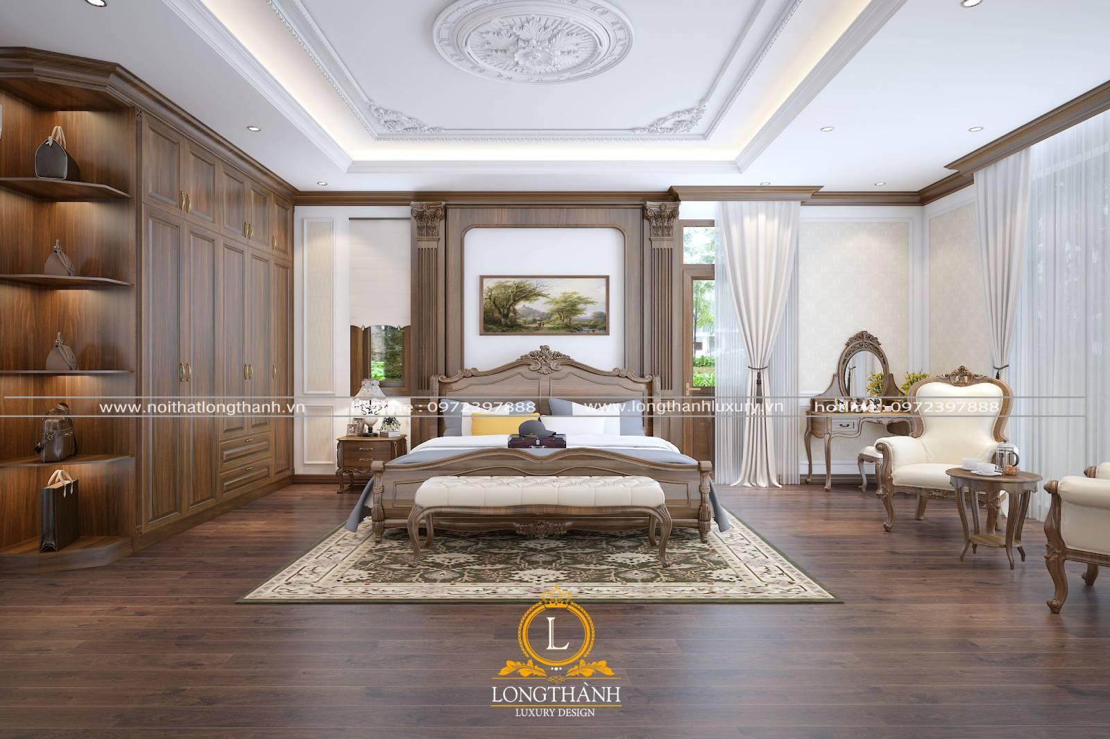Thiết kế giường ngủ master tân cổ điển cho nhà biệt thự rộng