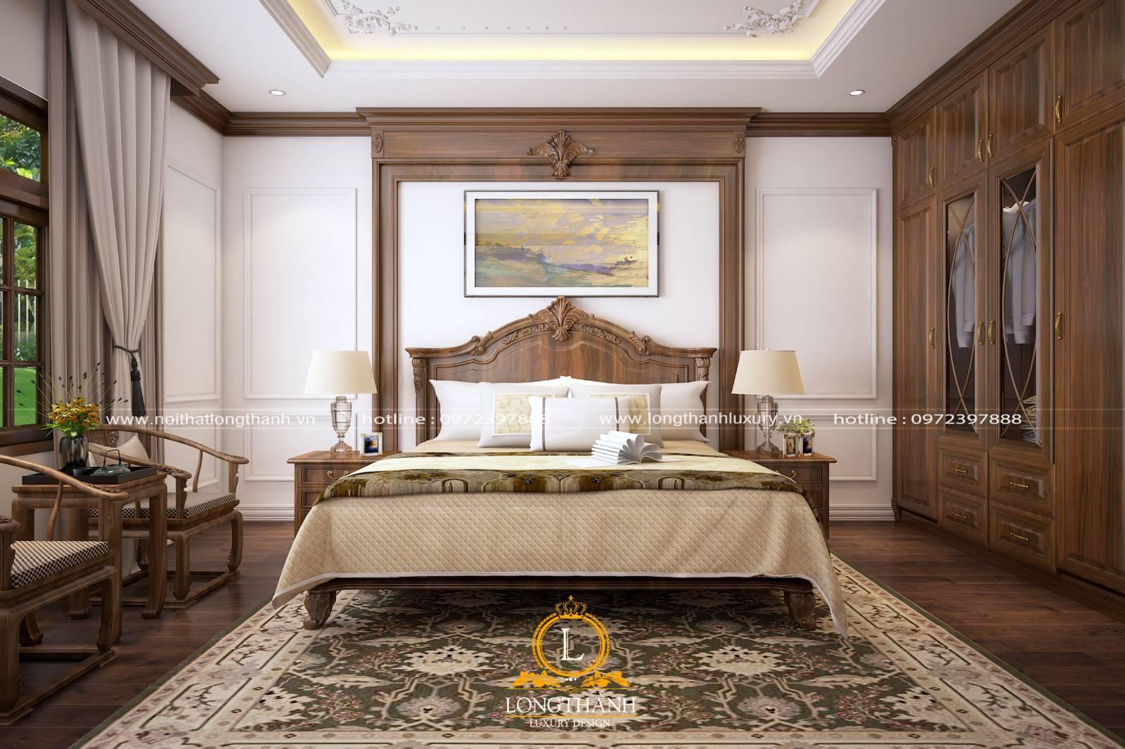 Thiết kế giường ngủ tân cổ điển gỗ óc chó tự nhiên