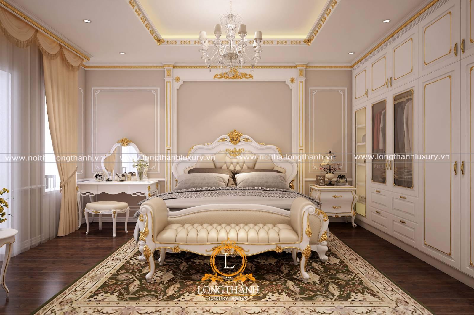Mẫu giường ngủ tân cổ điển sơn trắng kết hợp với sofa trắng tinh tế
