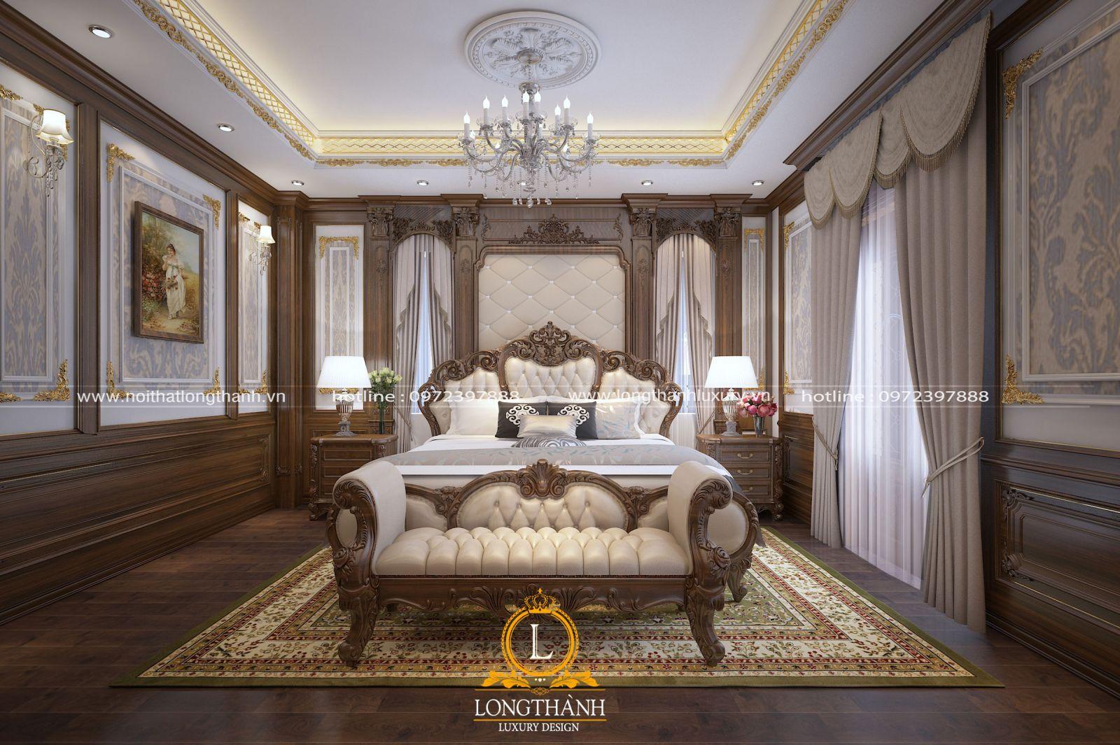 Giường ngủ tân cổ điển gỗ gụ