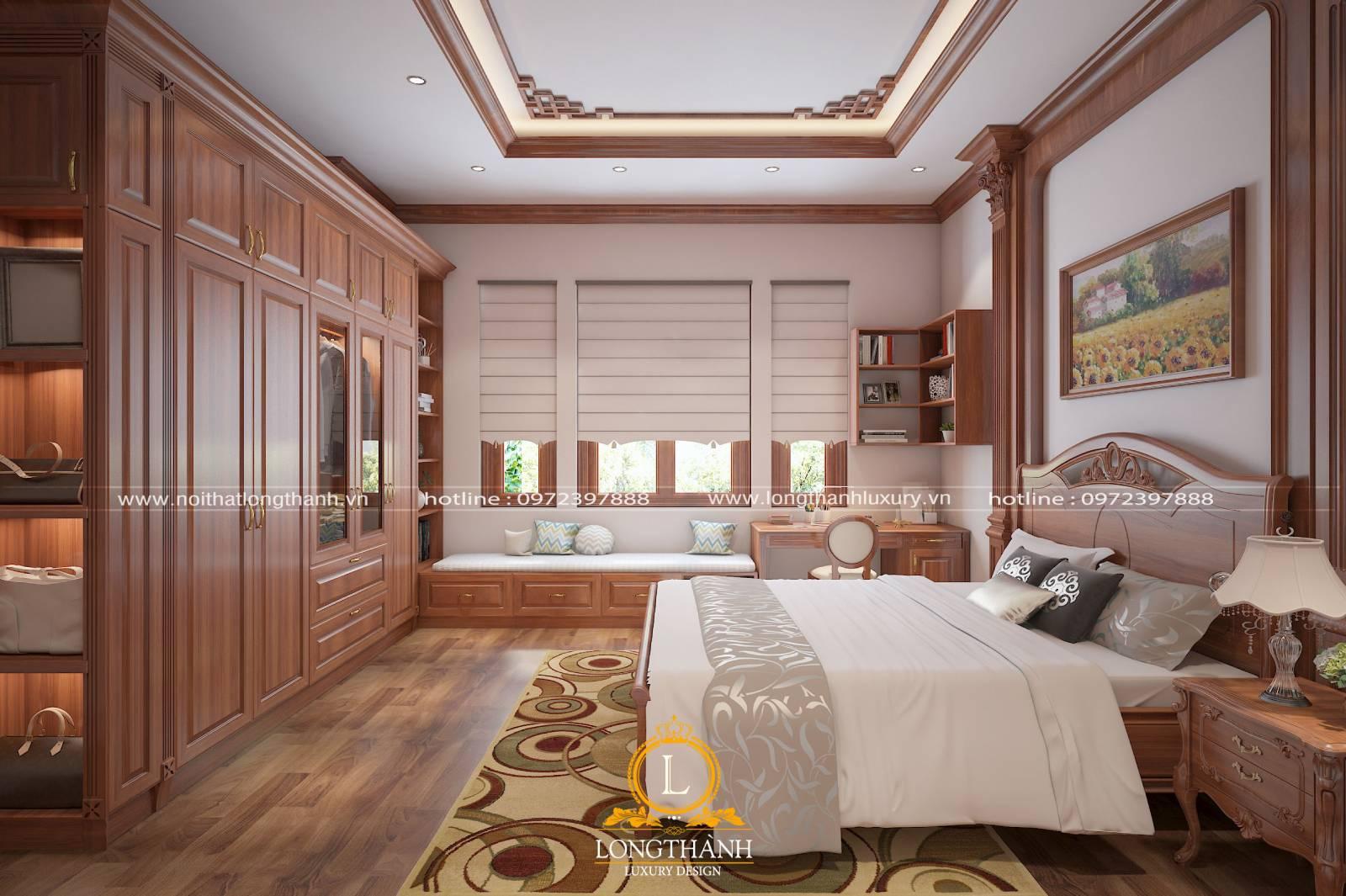 Giường và tủ quần áo được đặt hài hòa tiện lợi cho người sử dụng