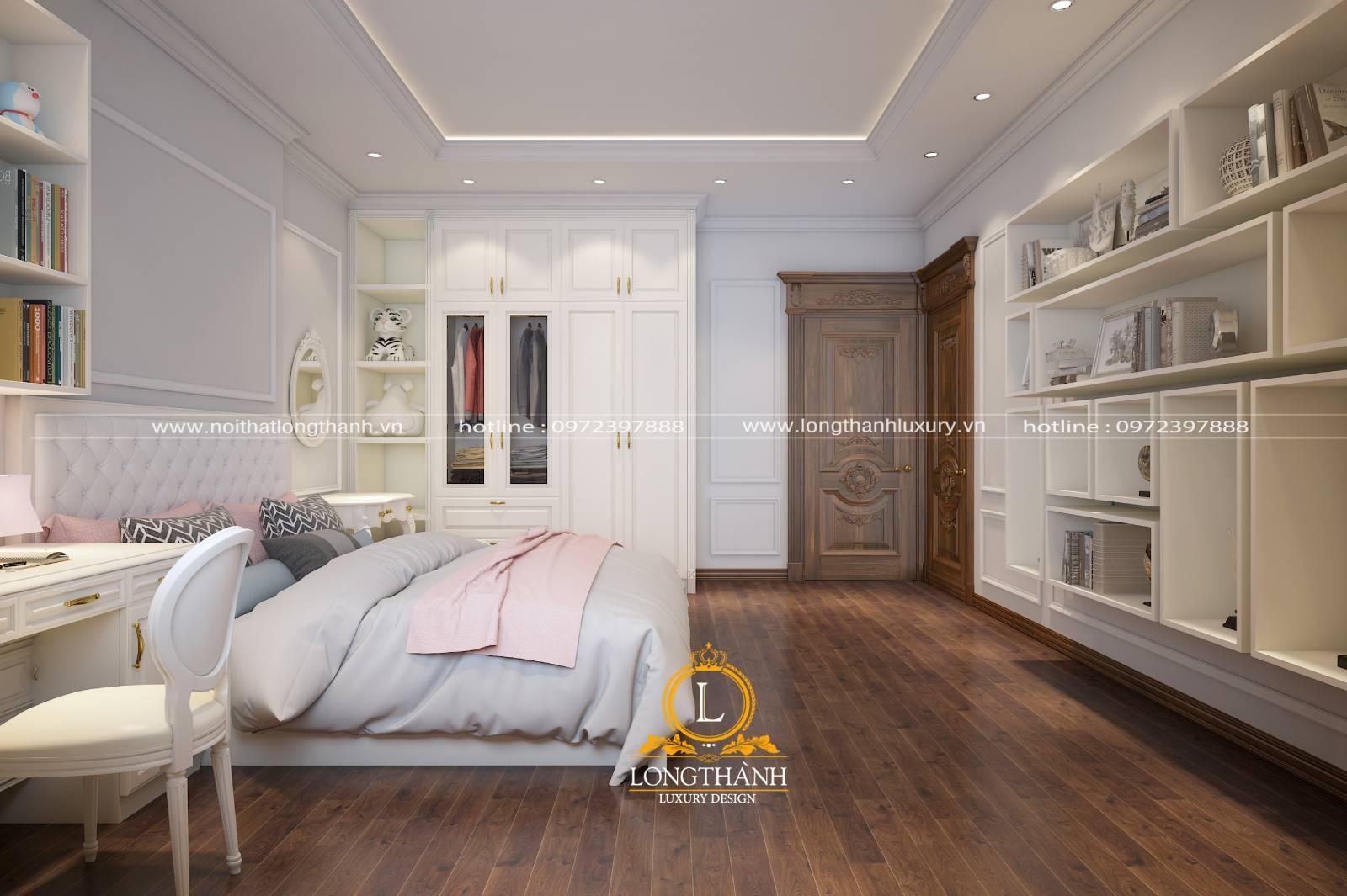 Giường và tủ quần áo phòng ngủ tân cổ điển được sơn trắng cao cấp