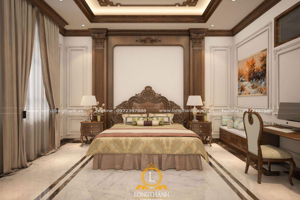 Một chiếc giường ngủ đẹp, sang trọng hiện đại làm tư gỗ Gõ tự nhiên