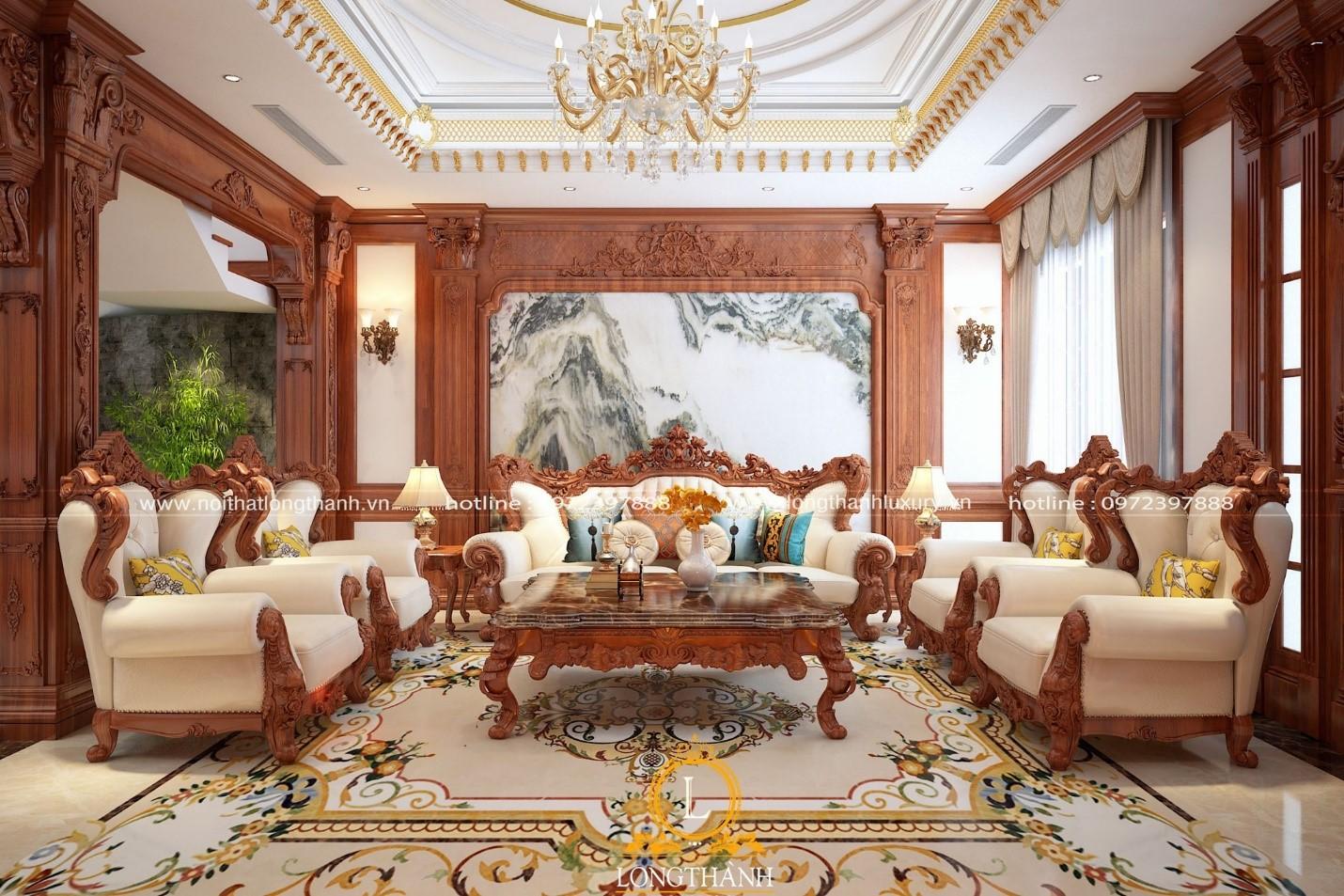 Gỗ gõ đỏ trong mẫu thiết kế sofa tân cổ điển