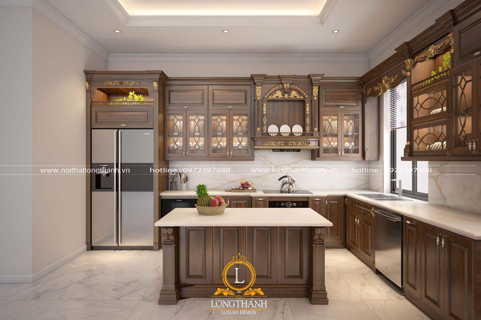 Tủ bếp gỗ Gõ sơn màu nâu điểm chút dát vàng làm nổi bật cả không gian