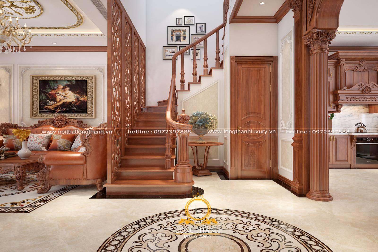Gờ trên bậc cầu thang phòng khách nhà biệt thự bằng gỗ tự nhiên