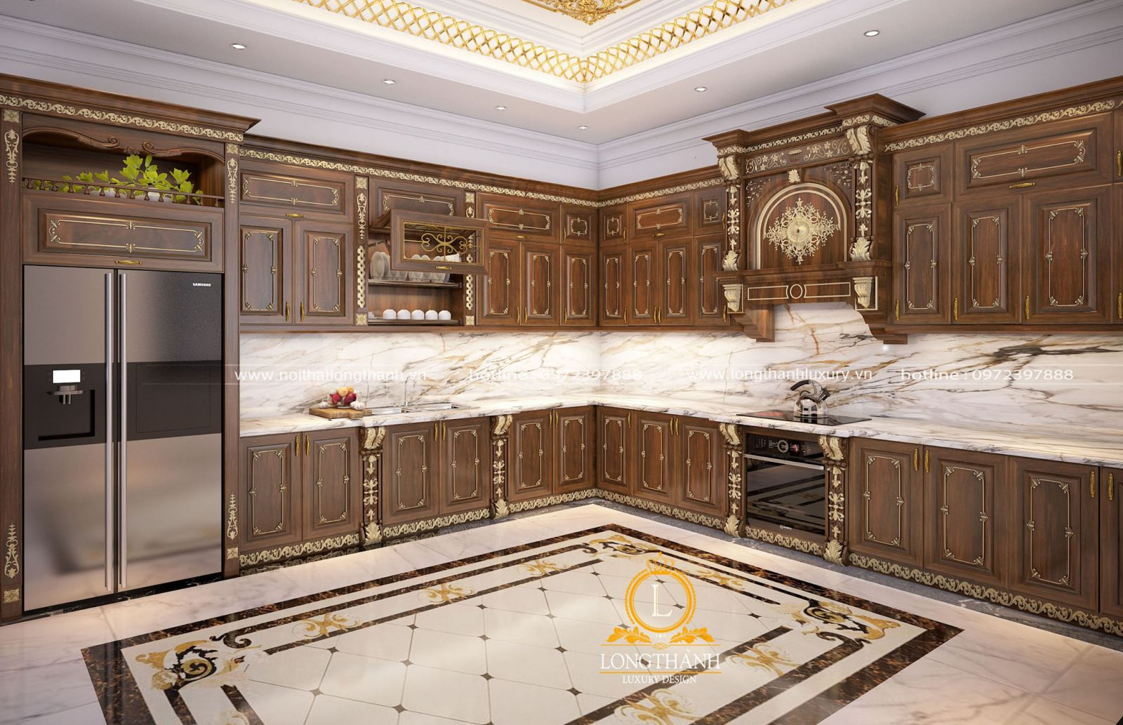 Tủ bếp tân cổ điển chữ L cho biệt thự rộng