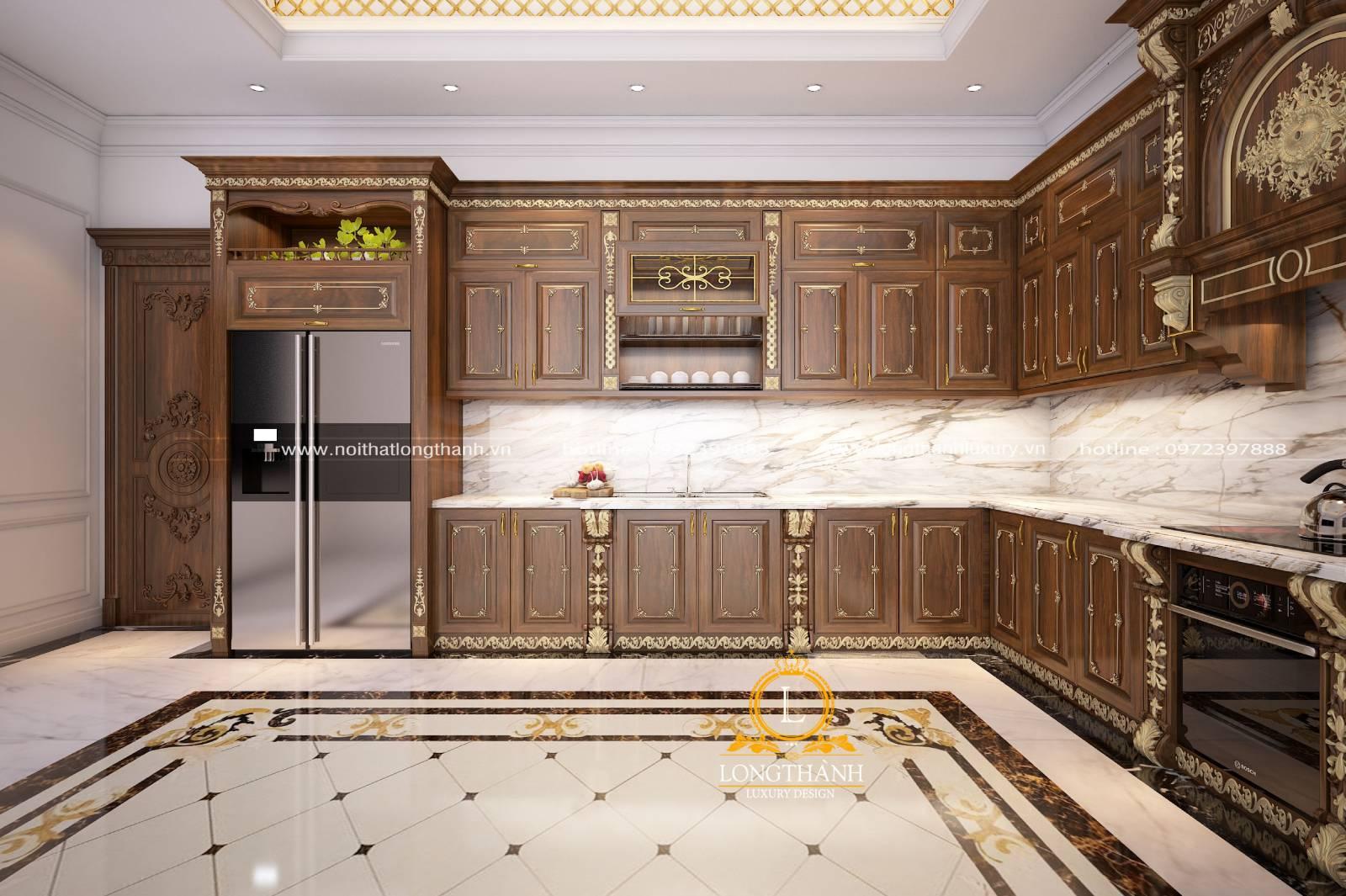 Thiết kế nội thất tủ bếp gỗ gõ LT03 phong cách tân cổ điển