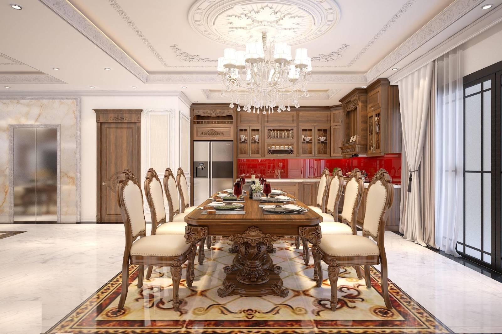 Mẫu tủ bếp gỗ Gõ tân cổ điển sơn nâu nối liền bàn ăn tiện lợi