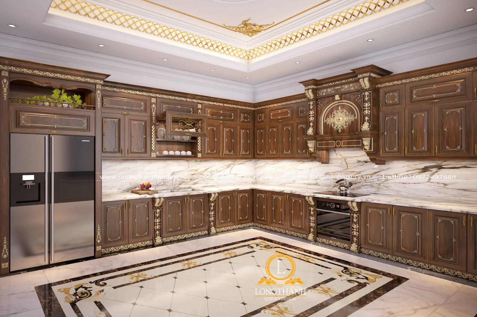 Mẫu tủ bếp gỗ Gõ chữ L mạ vàng sang trọng đẳng cấp