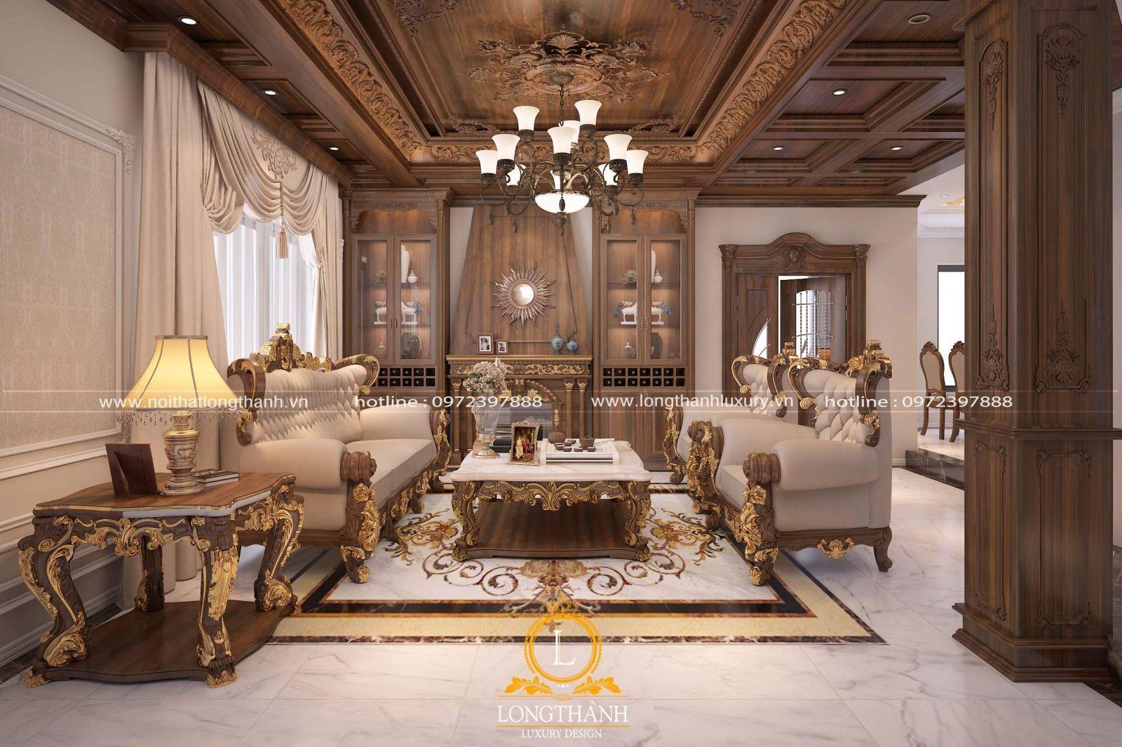 Hệ ốp trần bằng gỗ gõ ấn tượng cho phòng khách biệt thự