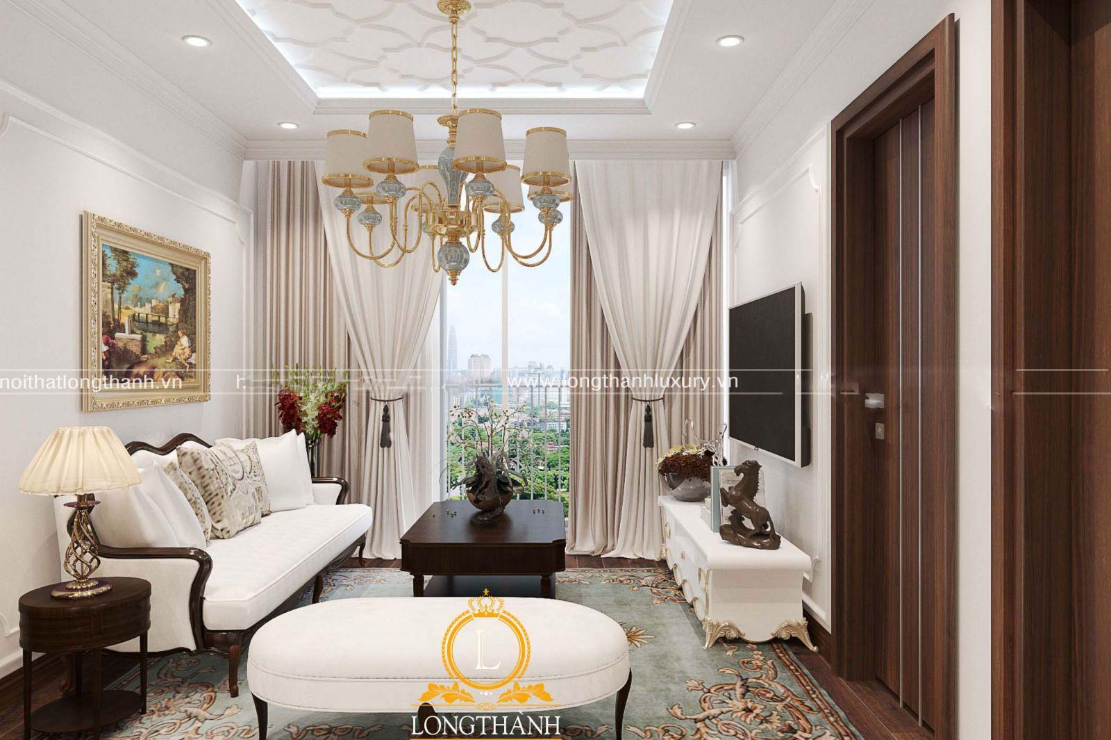 Thảm trải sàn tân cổ điển cũng được chủ nhân lựa chọn cho không gian phòng khách có diện tích nhỏ