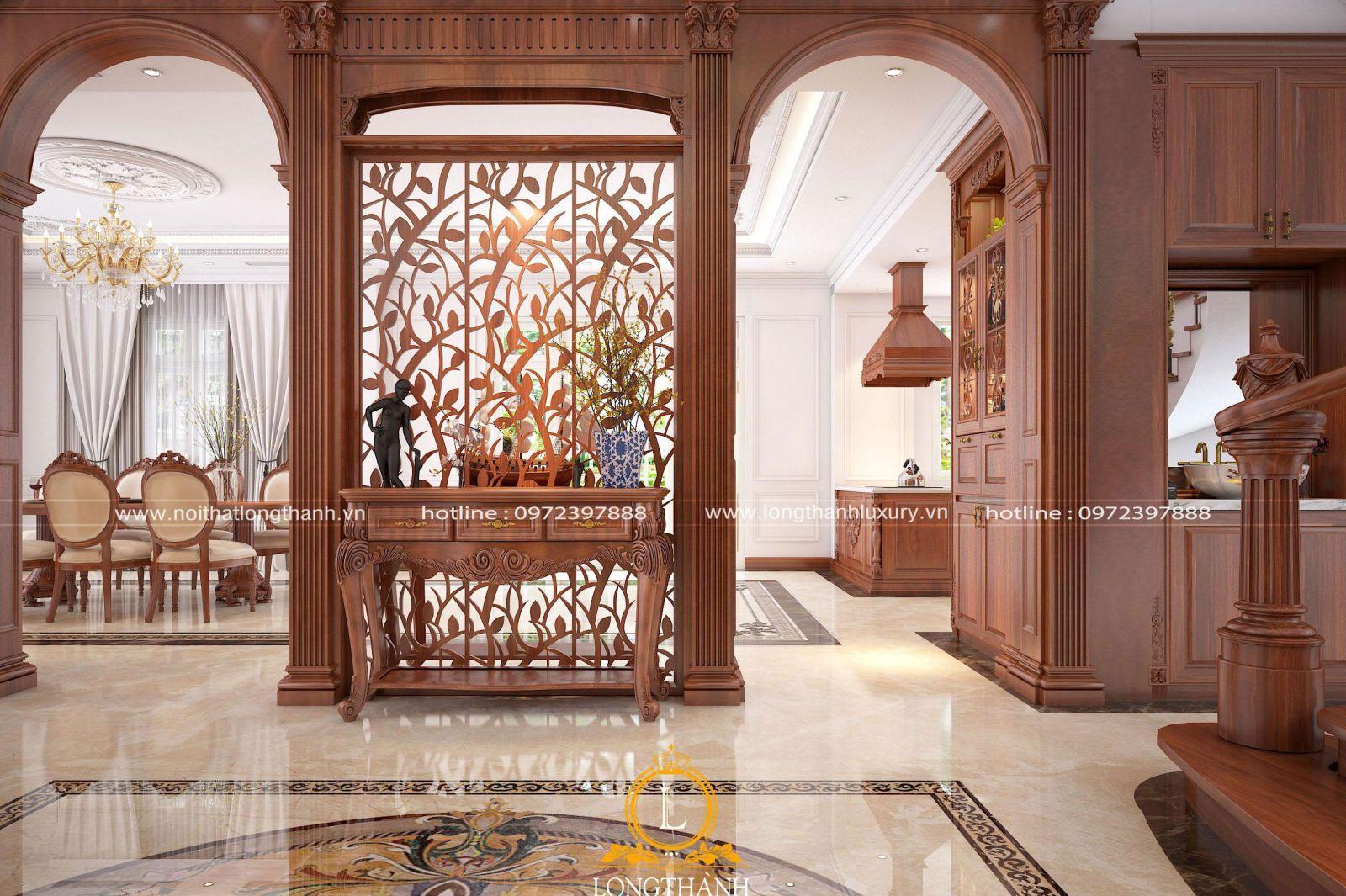 Hệ vách ngăn gỗ tự nhiên cho phòng khách