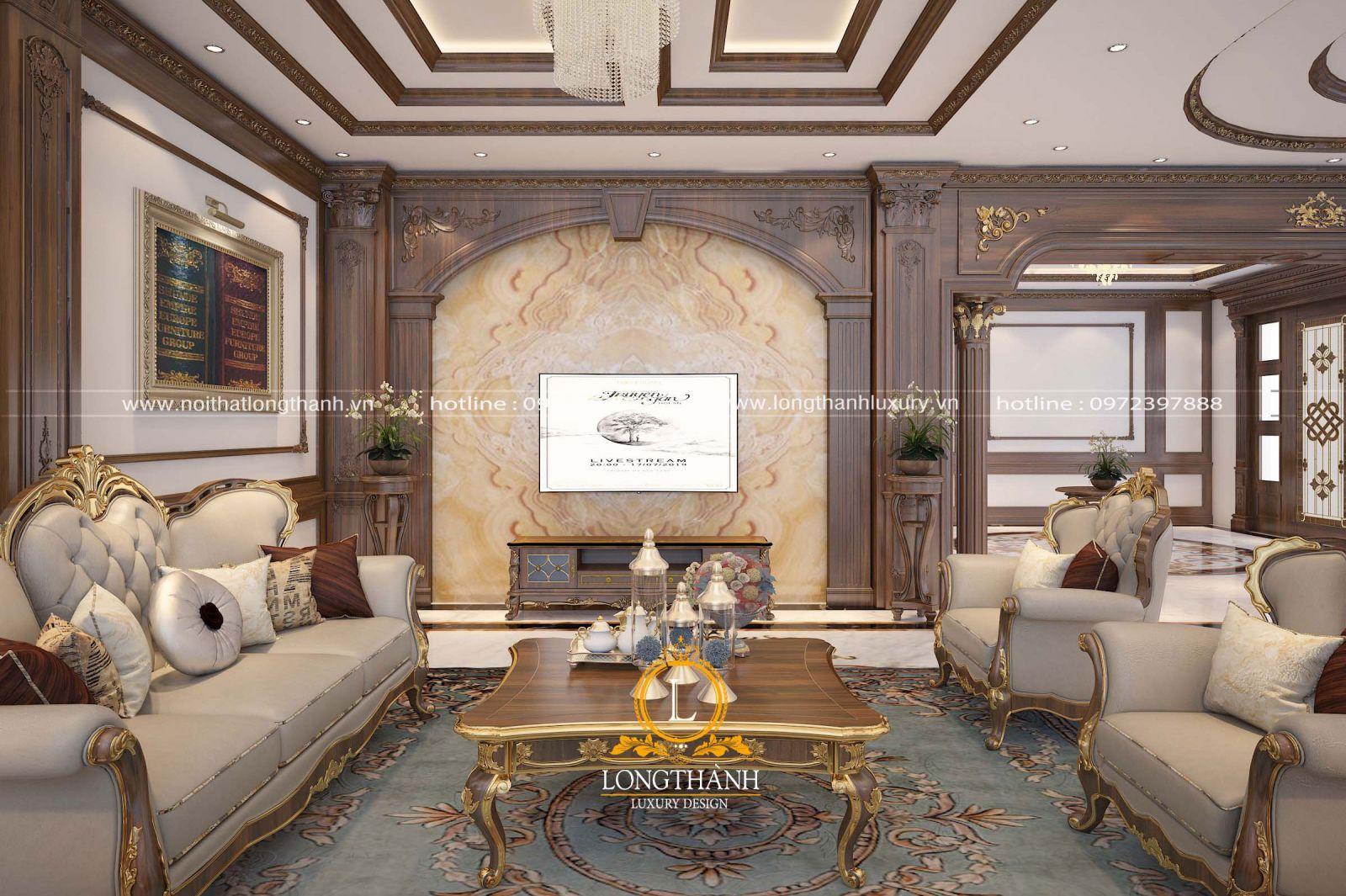 Căn phòng khách tân cổ điển sang trọng được chạm khắc hoa văn cầu kỳ tinh tế