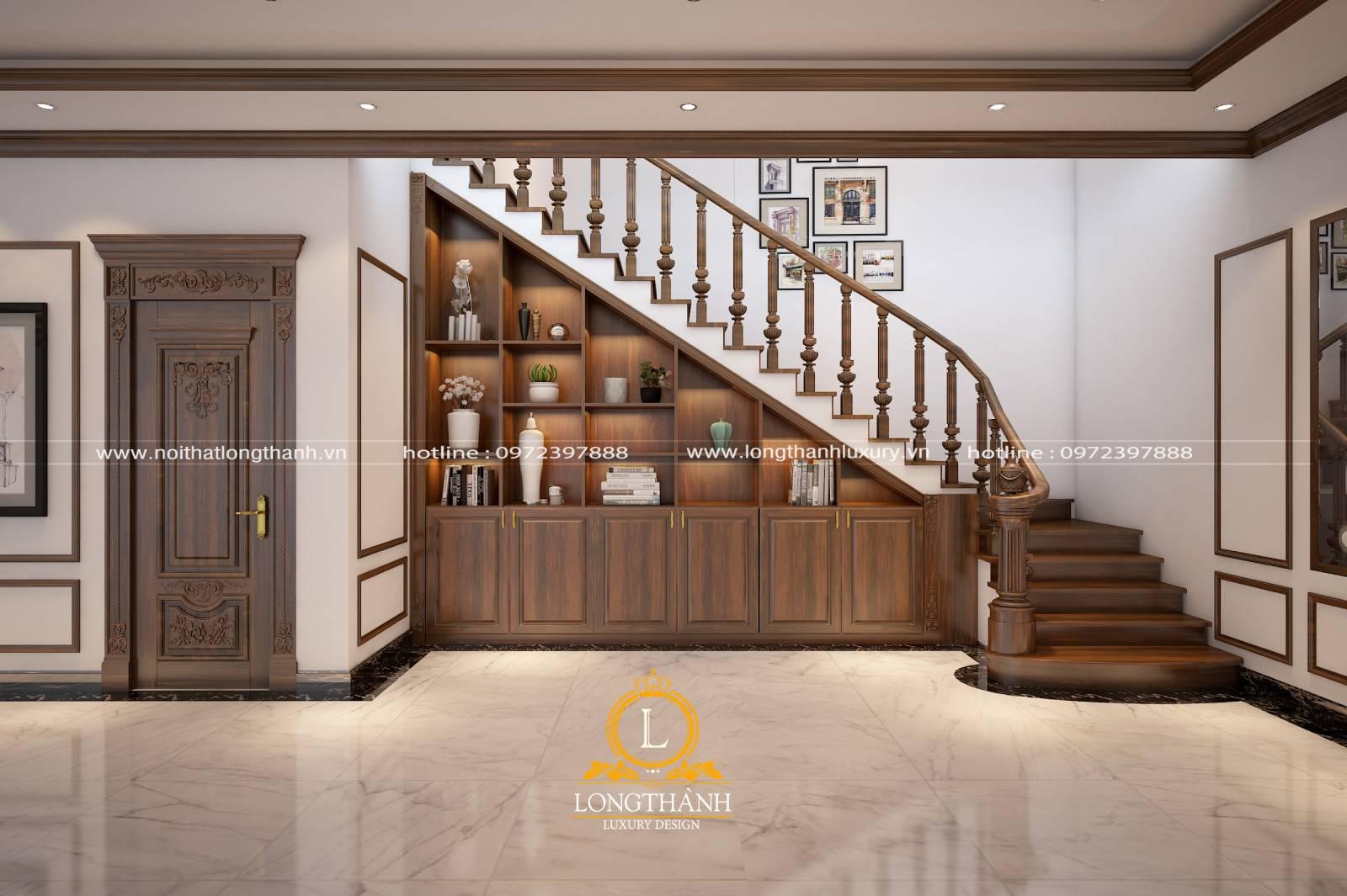 Hình ảnh trang trí gầm cầu thang bằng tủ gỗ vừa đẹp vừa sang trọng