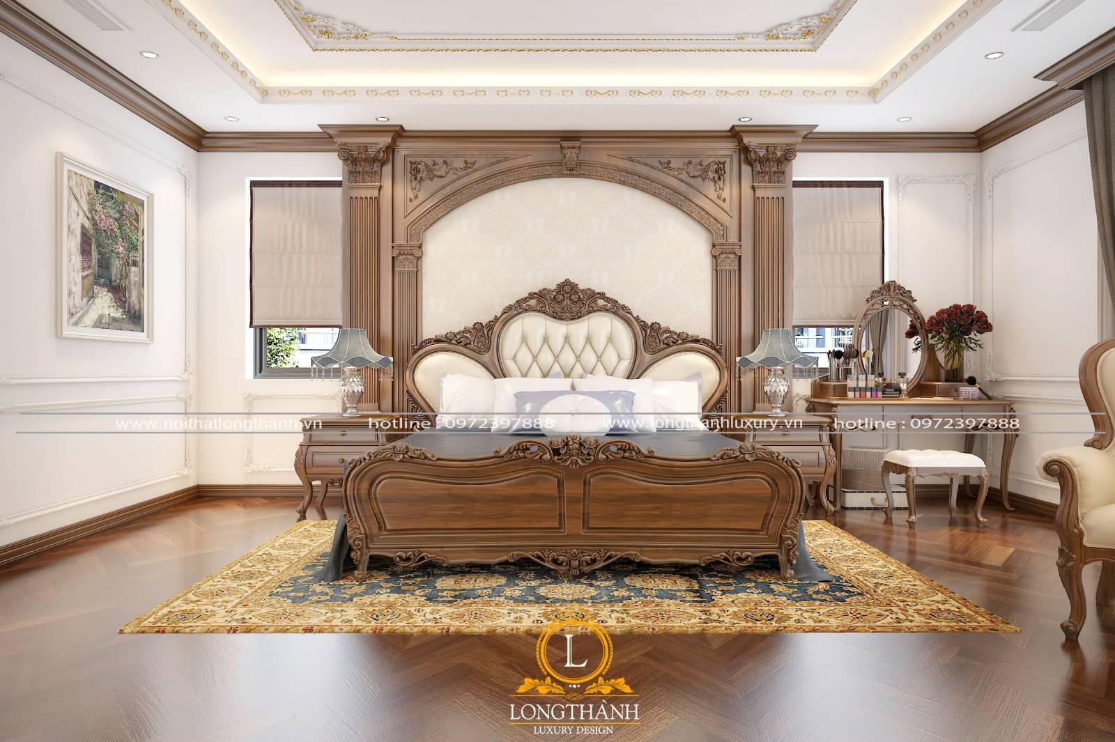Hoa văn trên giường ngủ master tân cổ điển có vẻ đẹp thẩm mỹ cao
