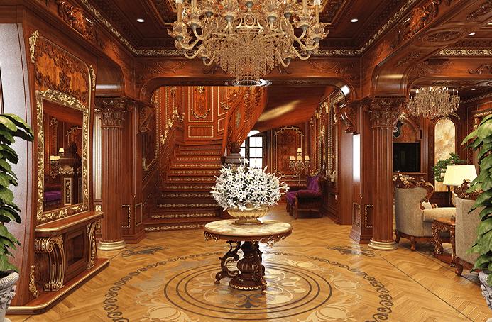 Thiết kế nội thất biệt thự theo kiểu cổ điển uy nghi bệ vệ