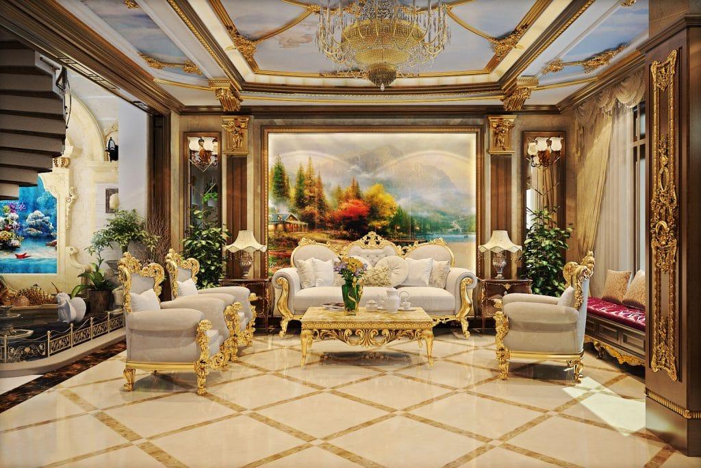 Thiết kế nội thất phòng khách nhà biệt thự phong cách cổ điển Châu Âu