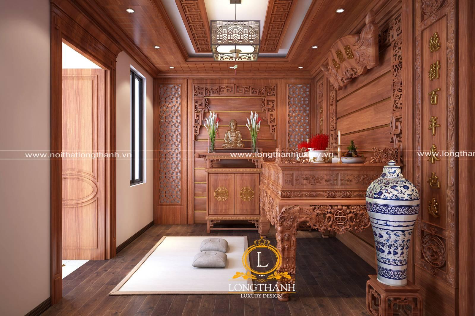 Thiết kế nội thất phòng thờ nhà biệt thự phong cách tân cổ điển sang trọng