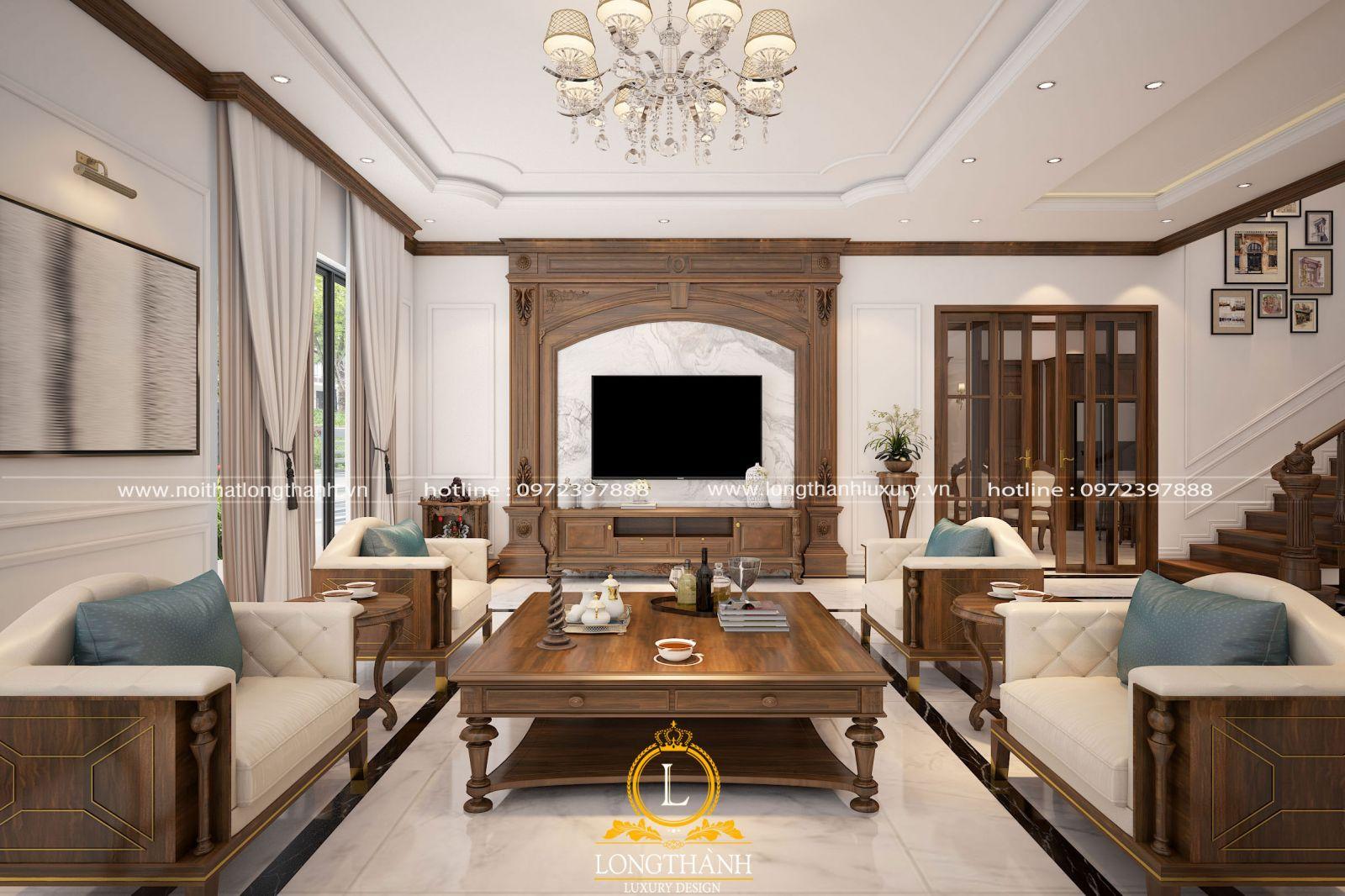Bàn ghế gỗ phòng khách luôn được đặt làm trọng tâm