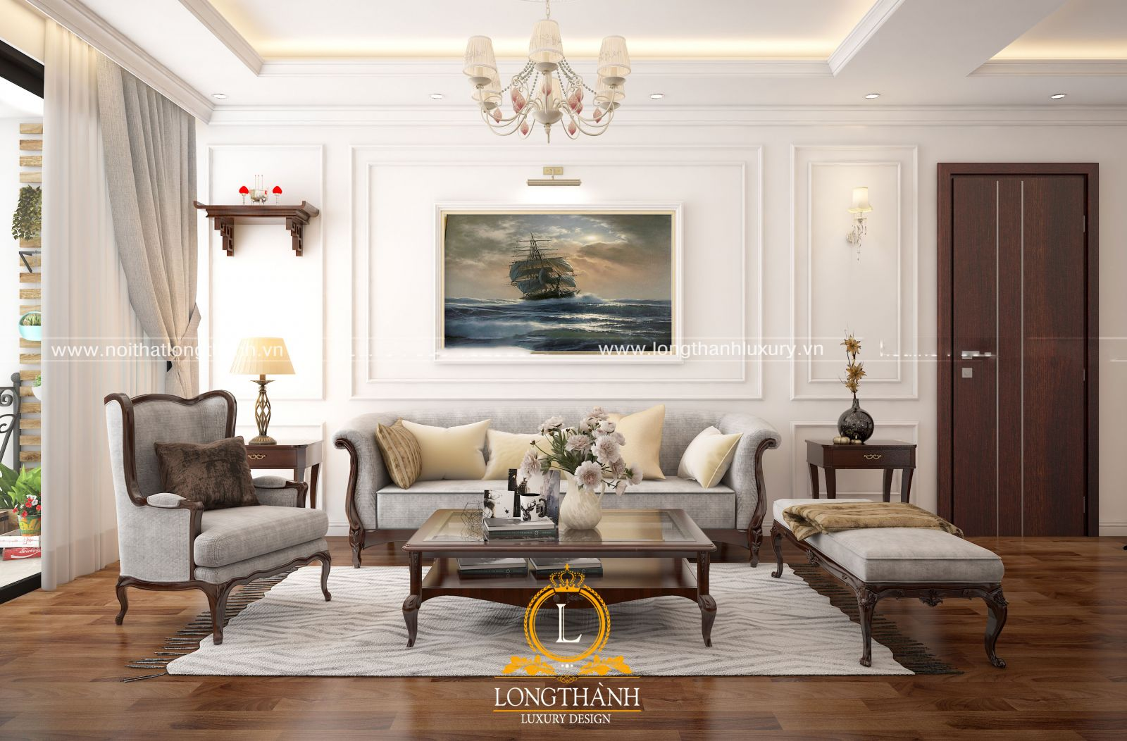 Bộ sofa màu xám làm cho phòng khách tân cổ điển thêm hài hòa