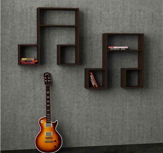 Thiết kế tủ sách đơn giản từ các nốt nhạc tạo cảm giác nên thơ chữ tình