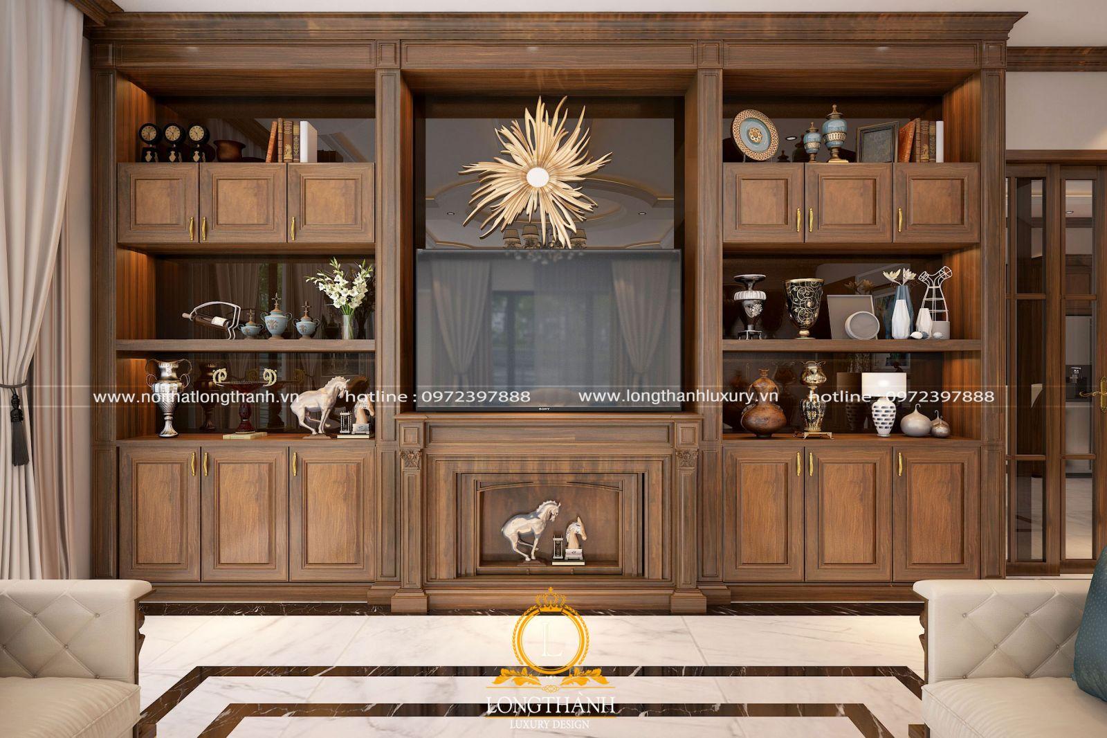 Kệ tivi kết hợp tủ trưng bày là một món đồ nội thất trang trí tân cổ điển