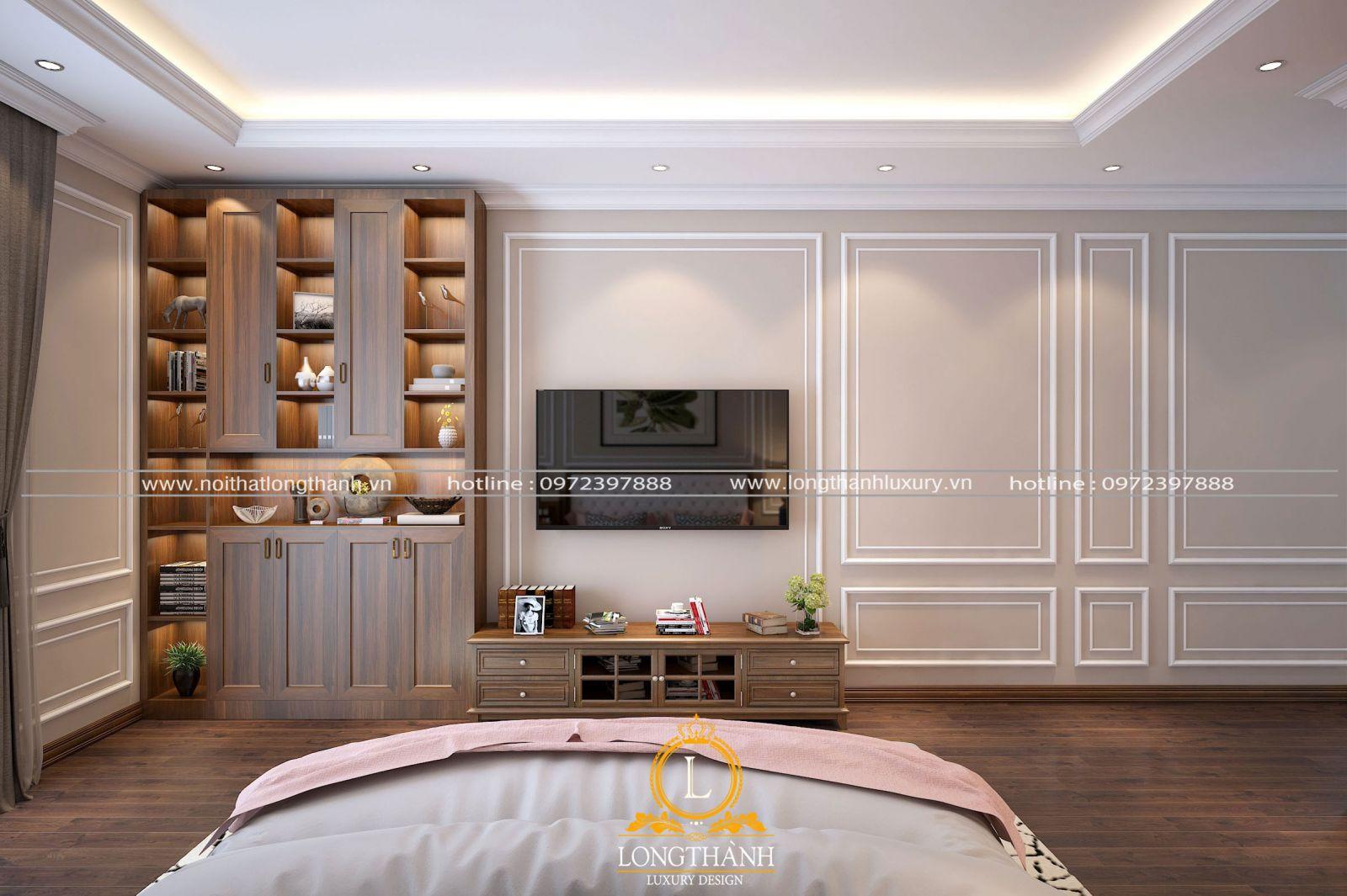 Kệ tivi cùng tủ trang trí gỗ Gõ đỏ ấn tượng