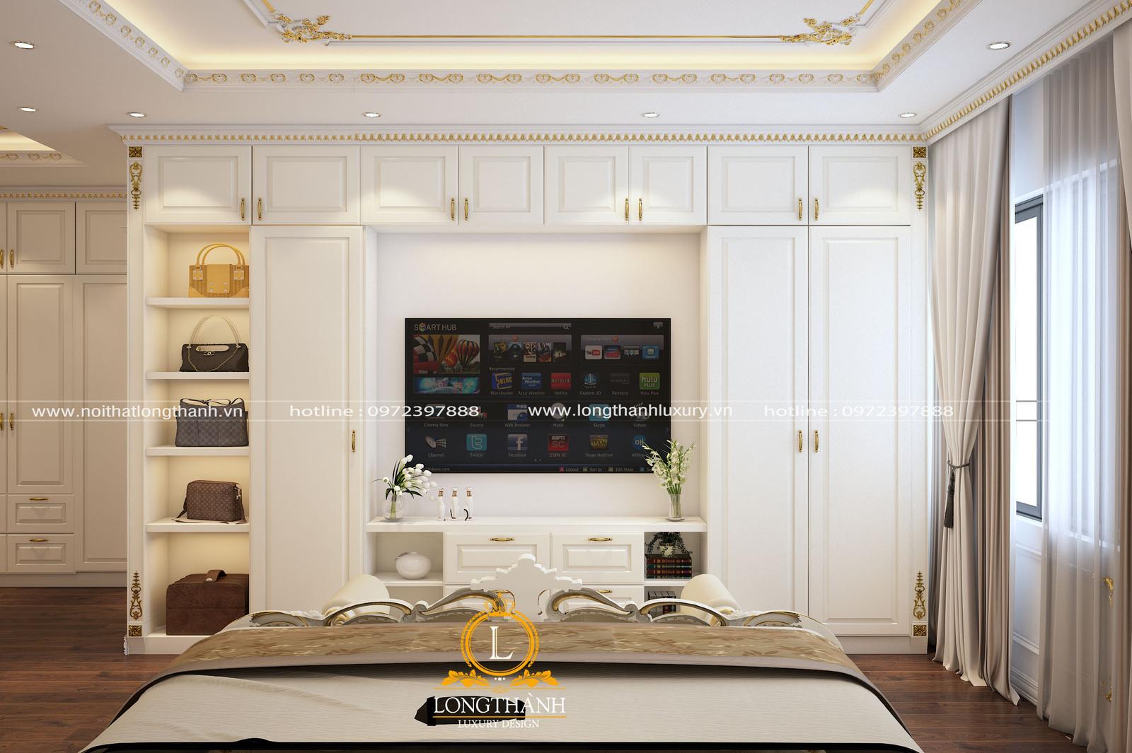 Kệ tivi và tủ quần áo gỗ tự nhiên sơn trắng phong cách tân cổ điển