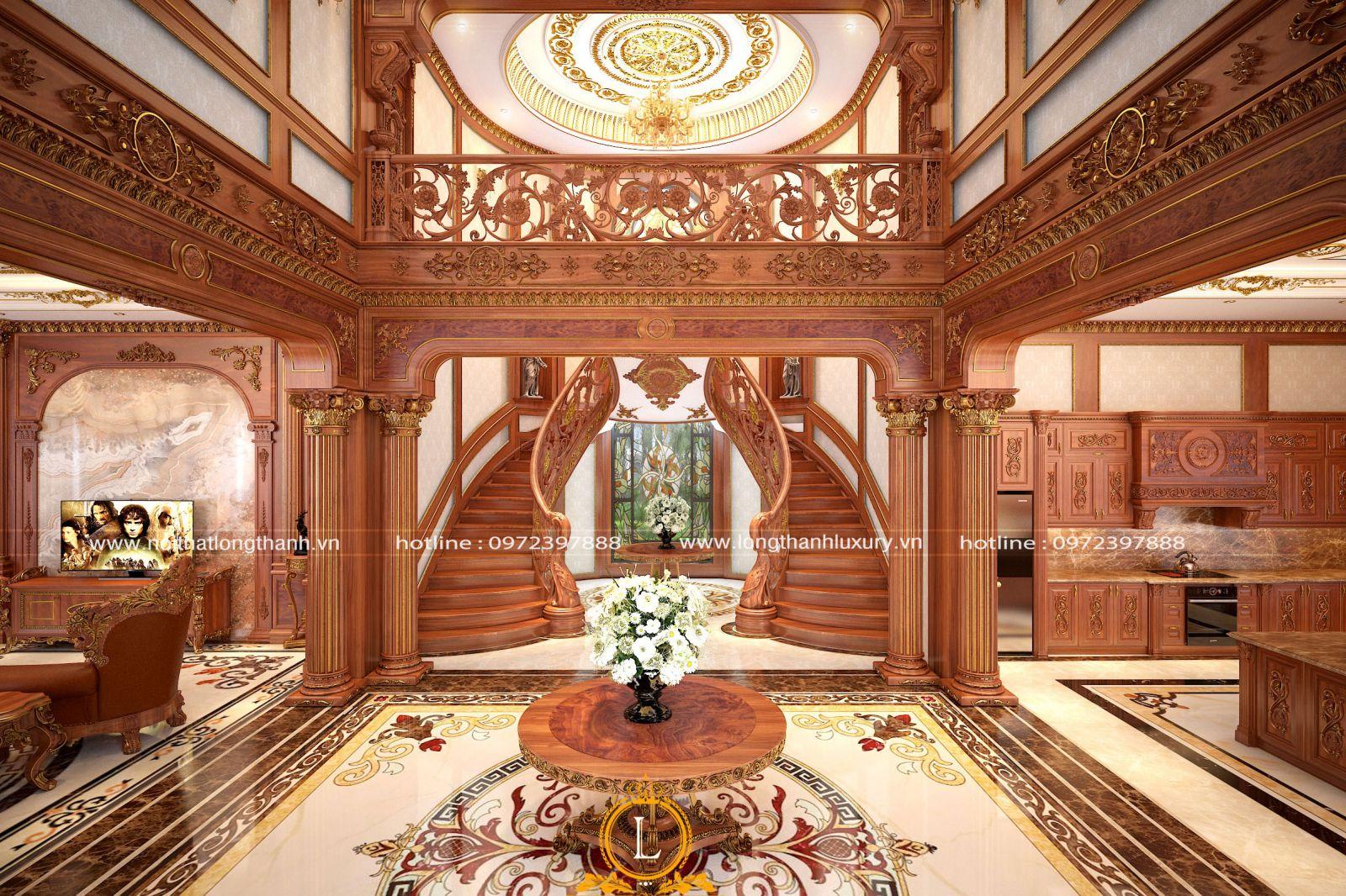 Kết cấu kiến trúc nhà biệt tự với những chi tiết cầu kỳ và nhiều chức năng