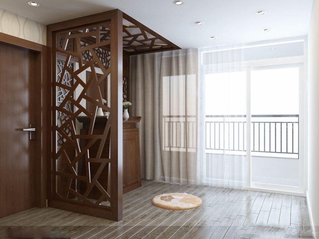 Kết hợp vách ngăn bàn thờ với rèm cửa để đảm bảo sự yên tĩnh