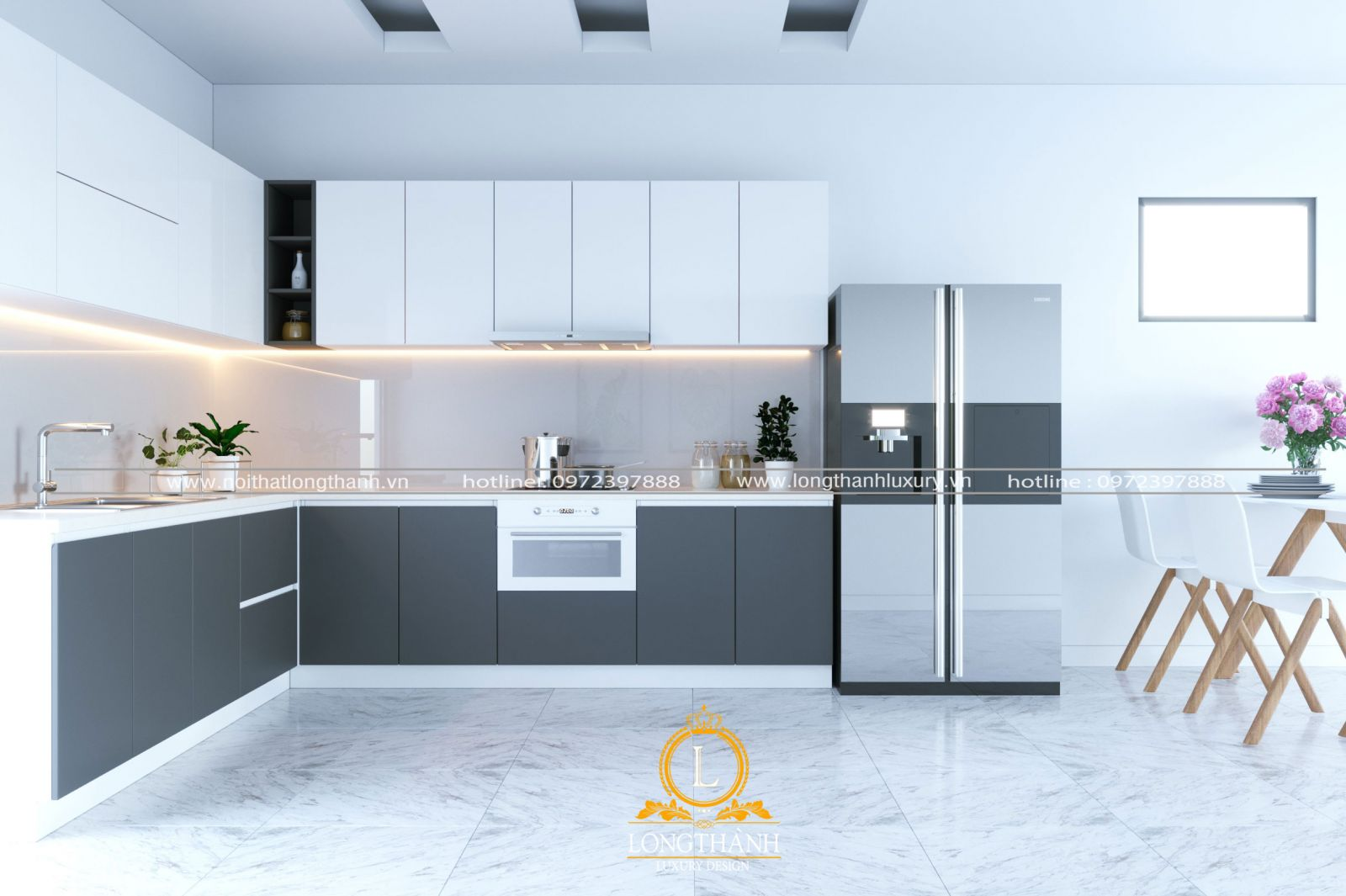 Không gian bếp ăn tối giản cho nhà chung cư