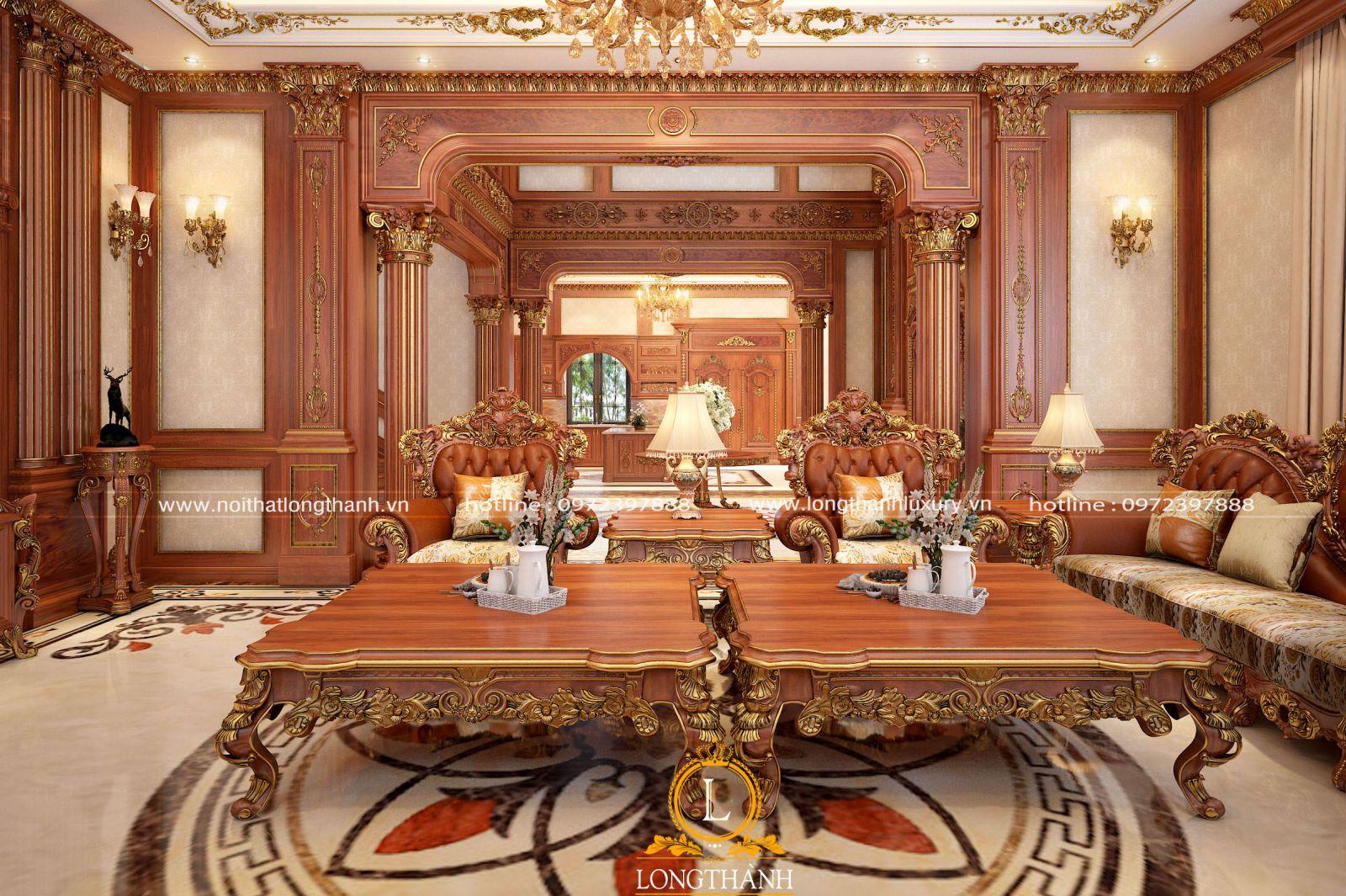Không gian hoàng gia với nội thất gỗ tân cổ điển
