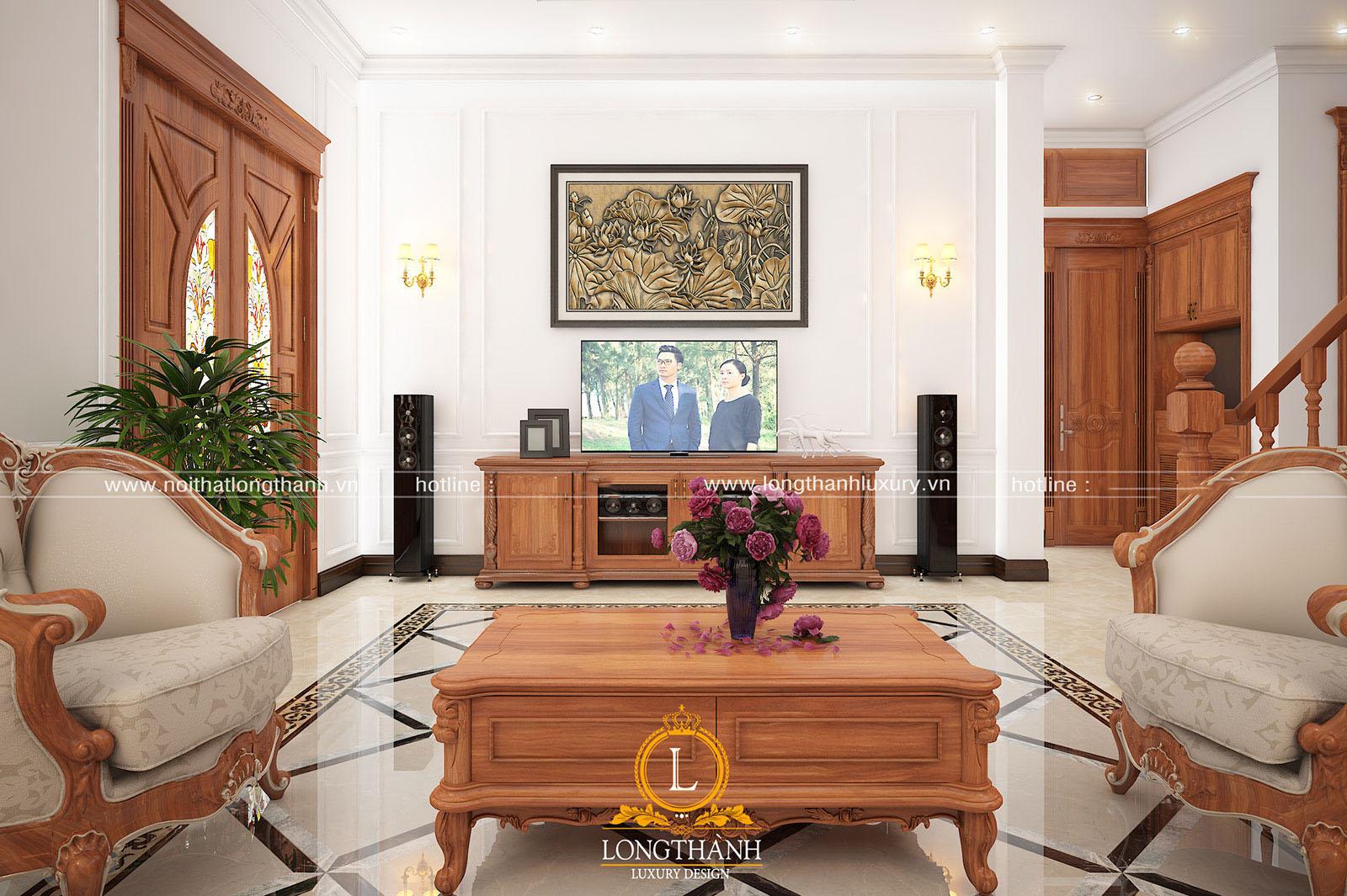 Không gian nội thất phòng khách đậm chất Á Đông