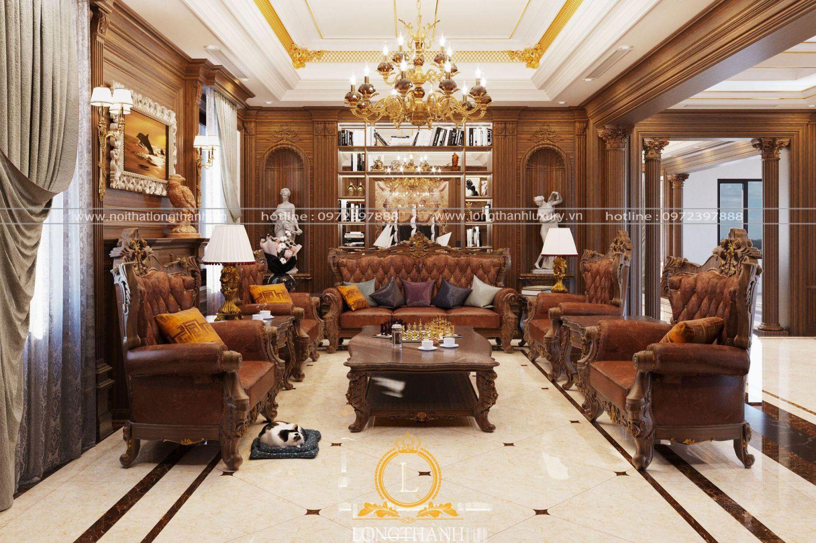 Sofa cổ điển với màu sắc sang trọng, hoàng gia