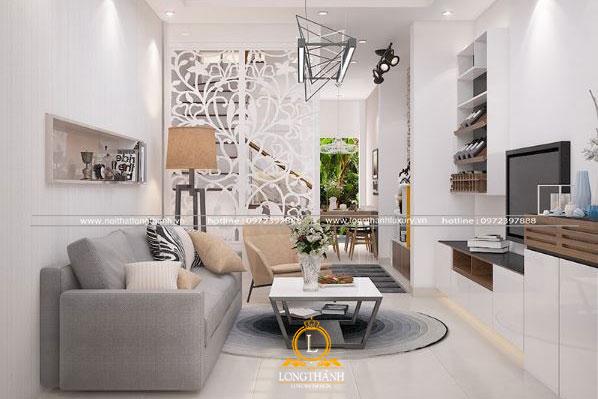 Không gian phòng khách hiện đại sơn trắng cho nhà ống