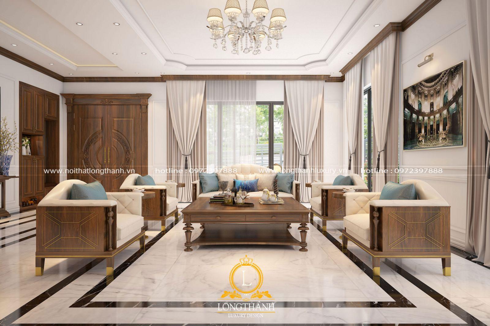 Không gian phòng khách hiện đại với gỗ tự nhiên cao cấp