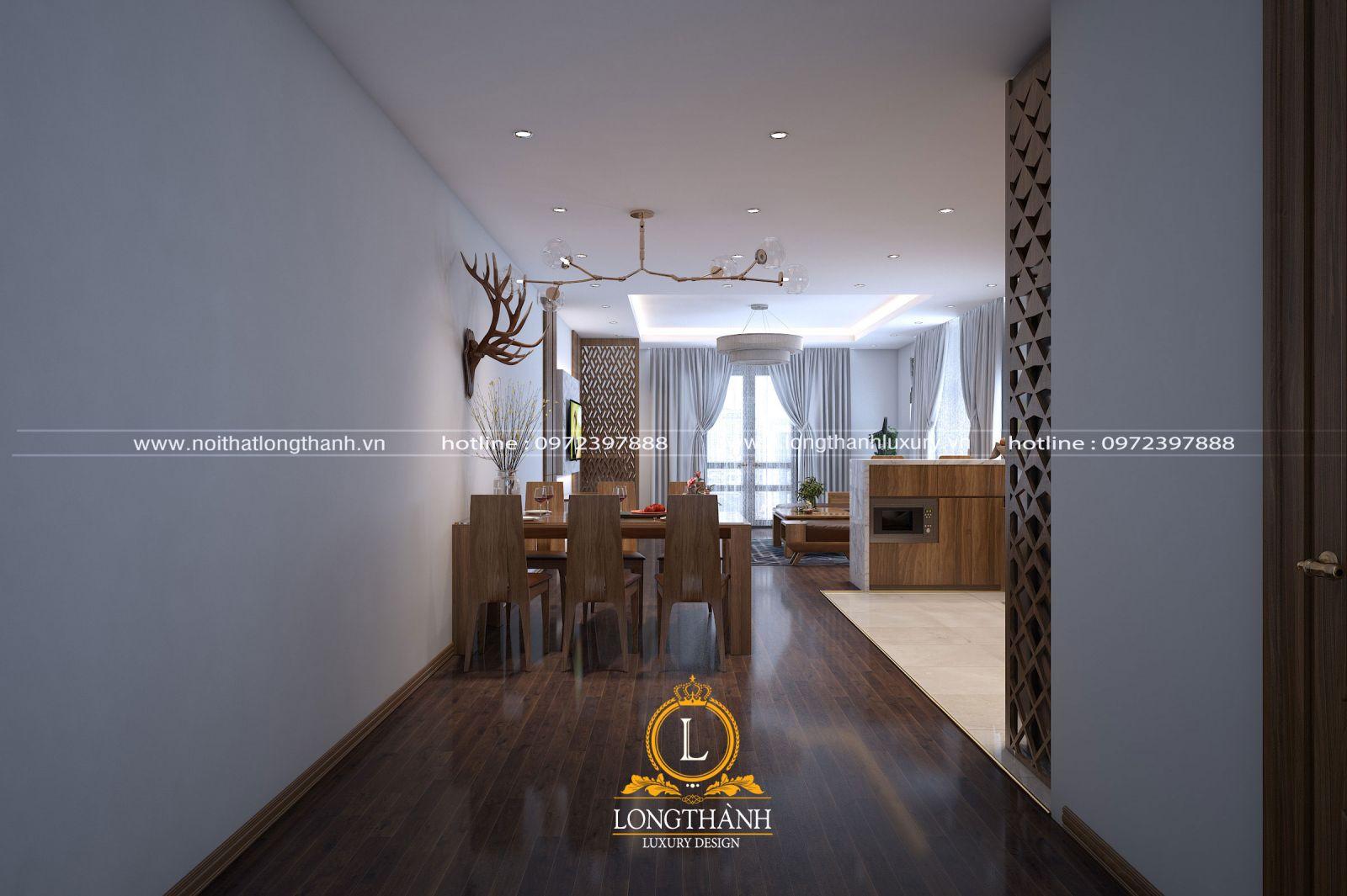 Không gian phòng khách kết hợp phòng ăn hiện đại