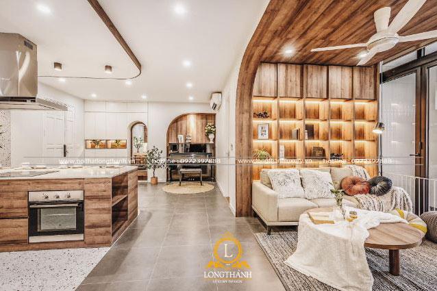 Không gian phòng khách liền bếp cho biệt thự gỗ sang trọng