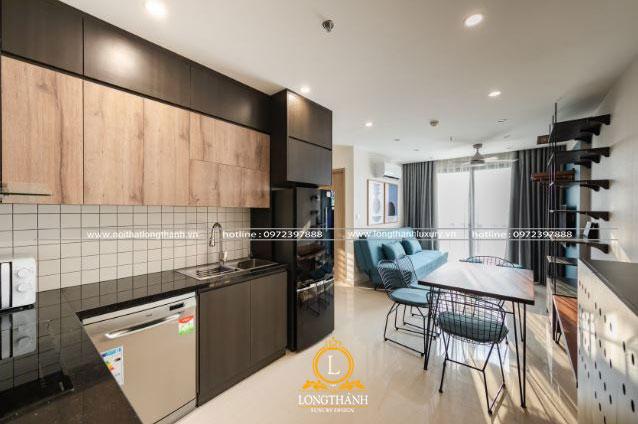 Không gian phòng khách liên hoàn phòng bếp ấn tượng